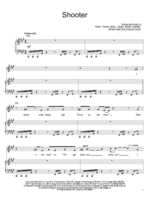Shooter Sheet Music