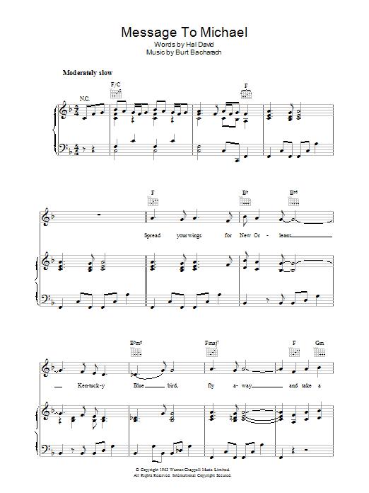 A Message to Martha (A Message To Michael/Kentucky Bluebird) Sheet Music
