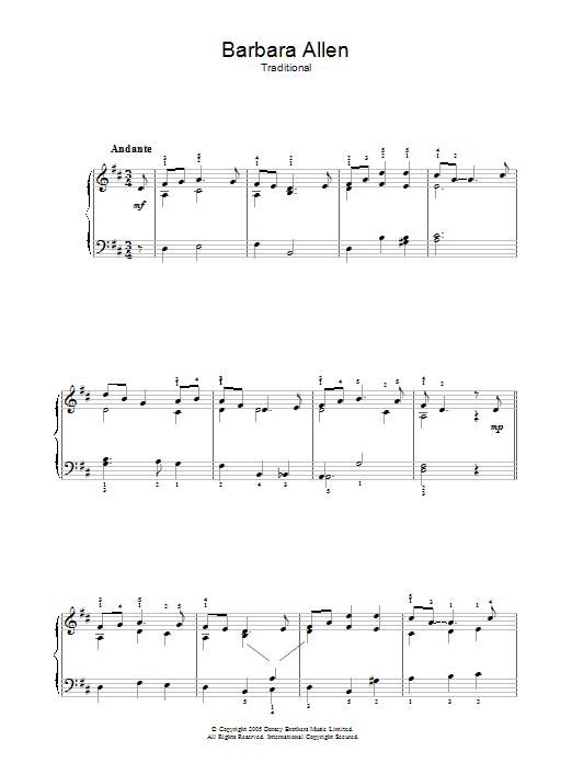 Barbara Allen Sheet Music