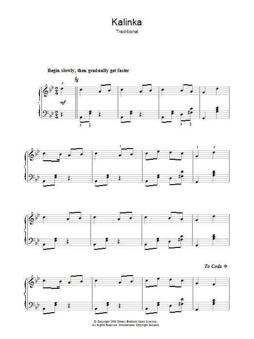 Kalinka (Piano, Vocal & Guitar)