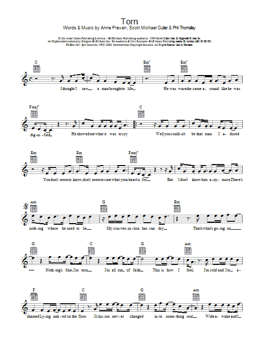Torn | Sheet Music Direct