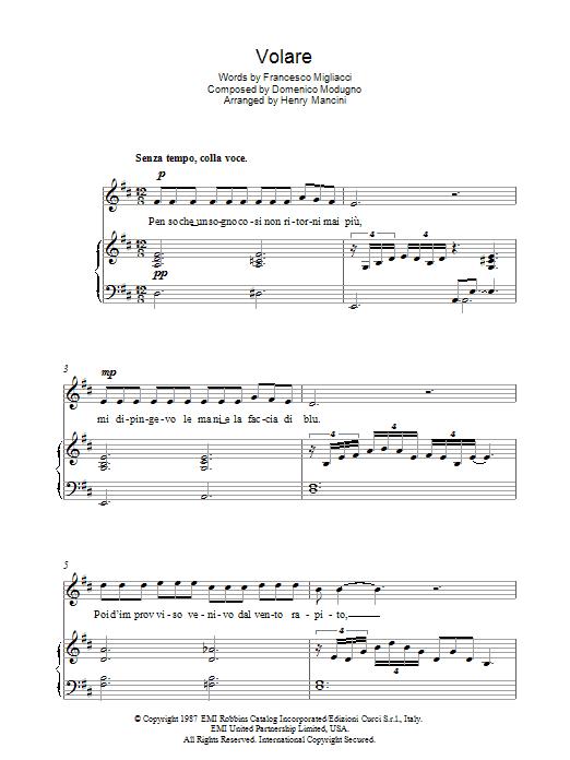 Volare (Nel Blu, Dipinto Di Blu) (Piano, Vocal & Guitar)