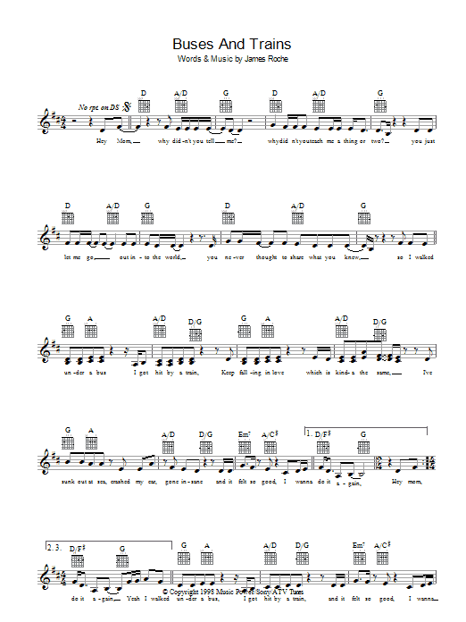 Buses And Trains Sheet Music