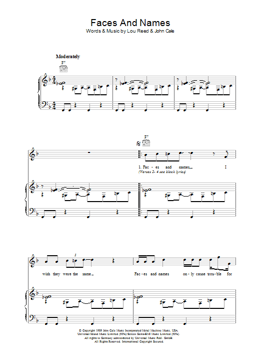 Faces And Names (Piano, Vocal & Guitar)
