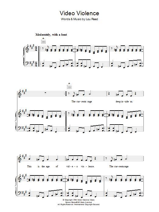 Video Violence (Piano, Vocal & Guitar)