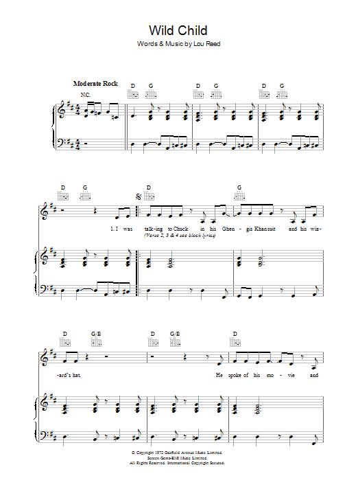 Wild Child (Piano, Vocal & Guitar)