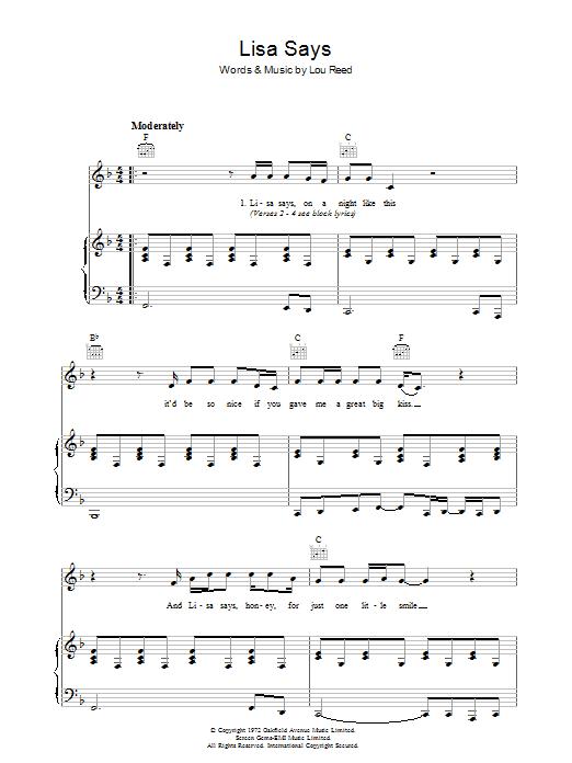 Lisa Says (Piano, Vocal & Guitar)