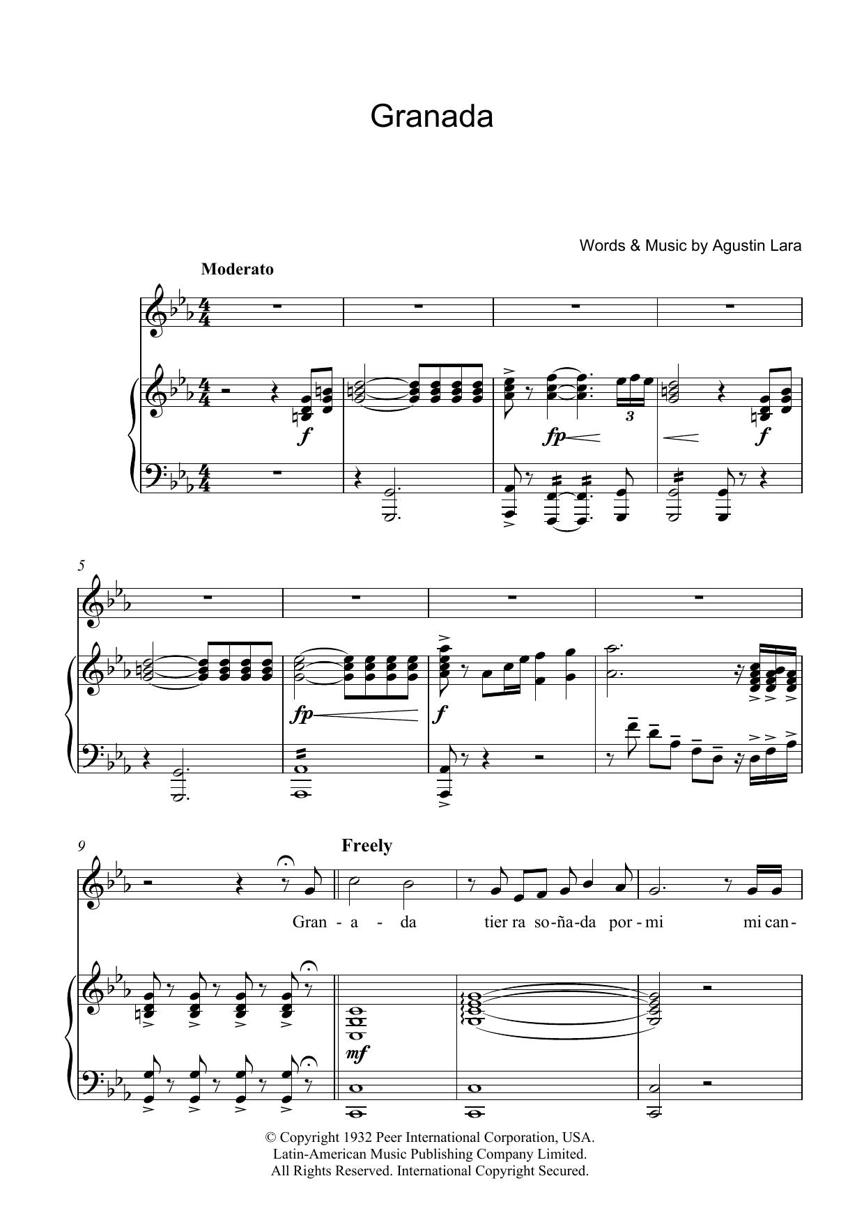 Granada (Piano, Vocal & Guitar)