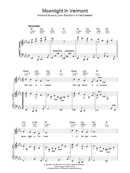 Moonlight In Vermont (Piano, Vocal & Guitar)