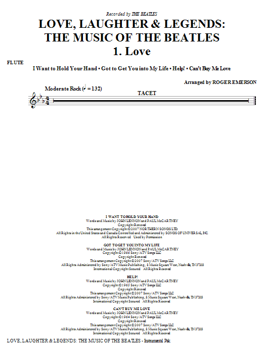 Love, Laughter and Legends (complete set of parts) sheet music for orchestra/band (chamber ensemble) by John Lennon, Paul McCartney, Roger Emerson and The Beatles. Score Image Preview.