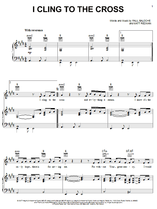 I Cling To The Cross (Piano, Vocal & Guitar (Right-Hand Melody))
