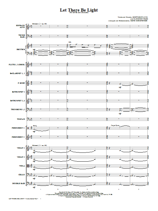 Let There Be Light (COMPLETE) sheet music for orchestra/band (Orchestra) by Keith Christopher and Scott Krippayne. Score Image Preview.