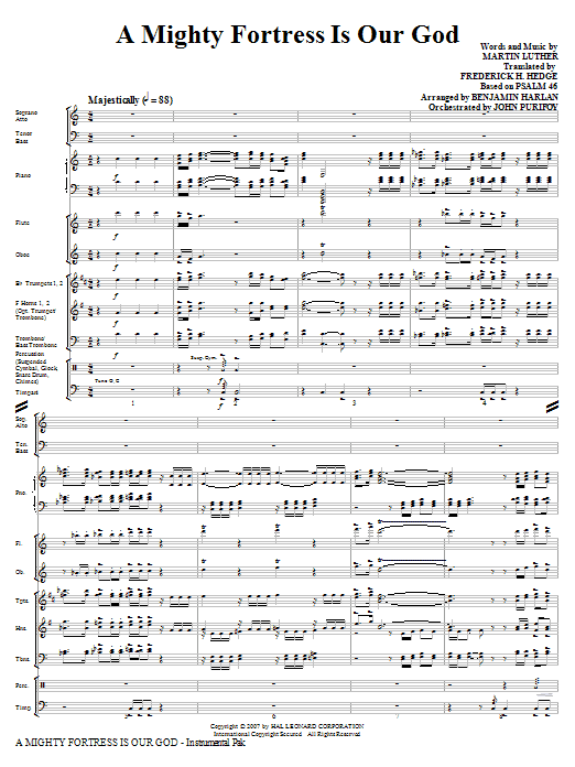 A Mighty Fortress Is Our God (COMPLETE) sheet music for orchestra/band (Special) by Benjamin Harlan, Frederick H. Hedge, Martin Luther and Miscellaneous. Score Image Preview.