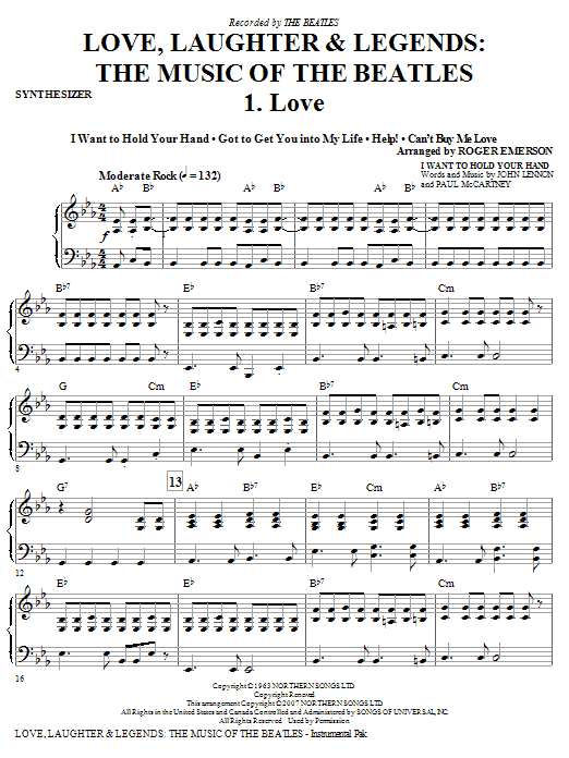 Love, Laughter & Legends - Synthesizer Sheet Music