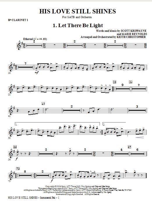 His Love Still Shines - Bb Clarinet 1 Sheet Music