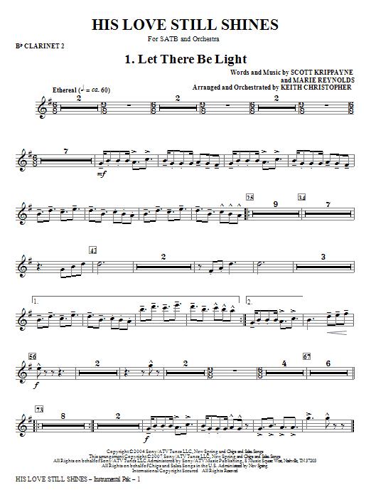 His Love Still Shines - Bb Clarinet 2 Sheet Music