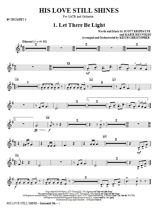 His Love Still Shines - Bb Trumpet 3 Sheet Music