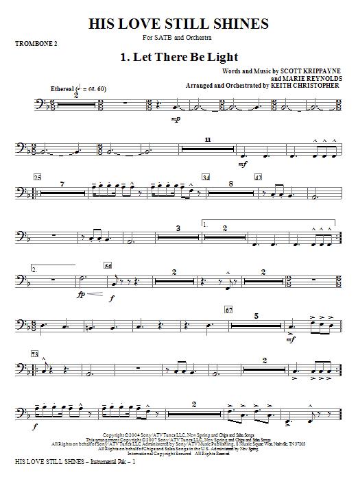 His Love Still Shines - Trombone 2 Sheet Music