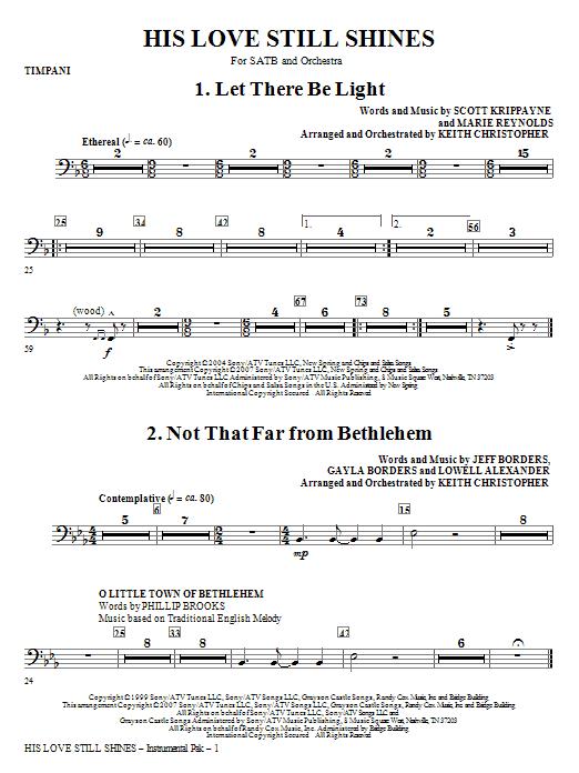 His Love Still Shines - Timpani Sheet Music