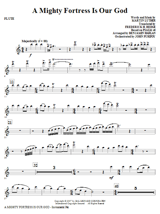 A Mighty Fortress Is Our God - Flute Sheet Music