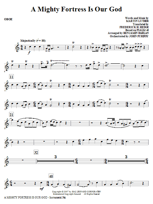 A Mighty Fortress Is Our God - Oboe Sheet Music