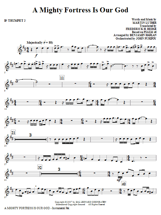 A Mighty Fortress Is Our God - Bb Trumpet 2 Sheet Music