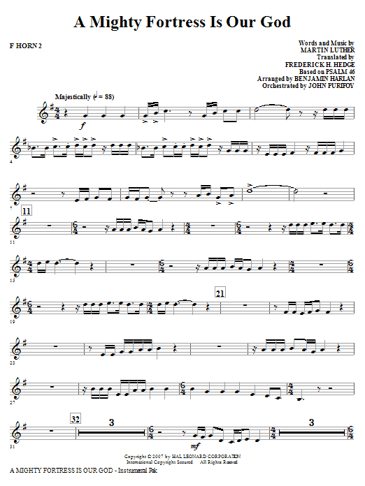 A Mighty Fortress Is Our God - F Horn 2 Sheet Music