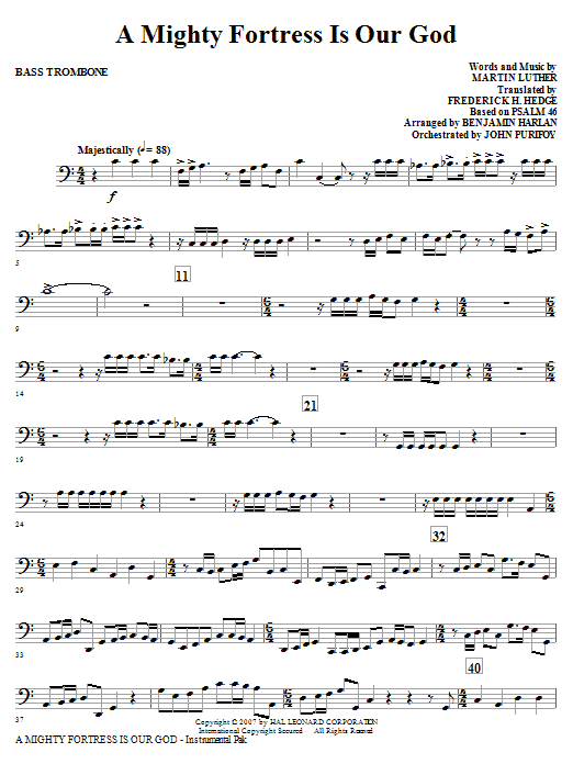 A Mighty Fortress Is Our God - Bass Trombone Sheet Music