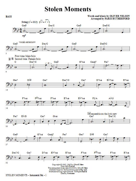 Stolen Moments - Bass (Choir Instrumental Pak)