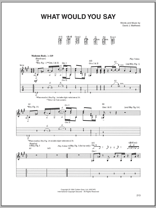 Tablature guitare What Would You Say de Dave Matthews Band - Tablature Guitare