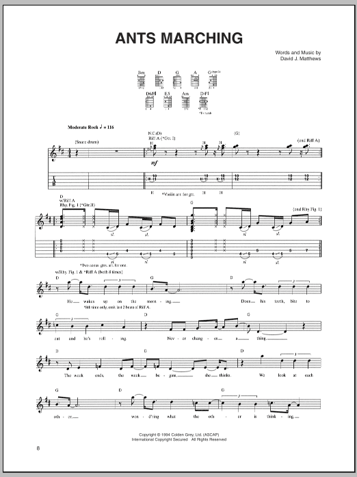 Tablature guitare Ants Marching de Dave Matthews Band - Tablature Guitare