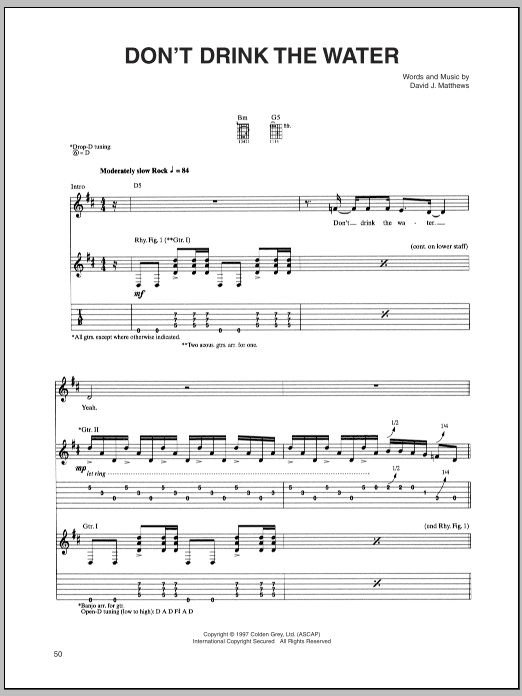 Tablature guitare Don't Drink The Water de Dave Matthews Band - Tablature Guitare