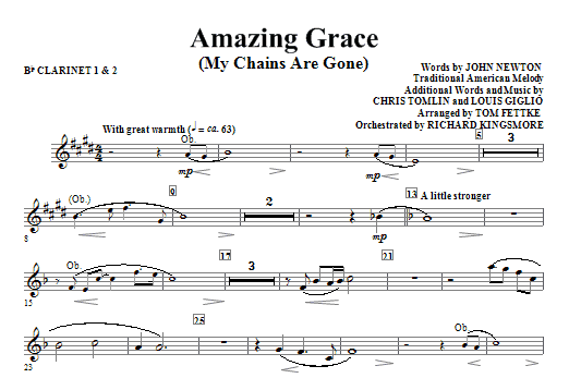 Amazing Grace (My Chains Are Gone) - Bb Clarinet 1,2 Sheet Music
