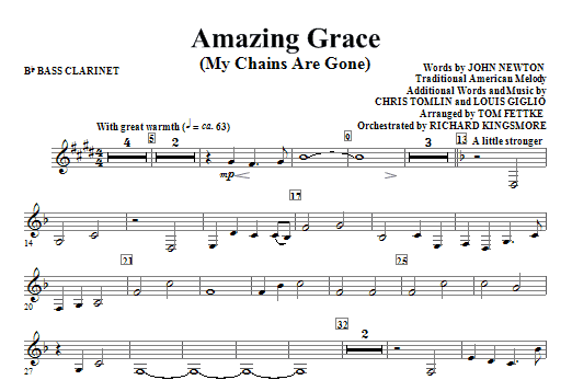 Amazing Grace (My Chains Are Gone) - Bb Bass Clarinet Sheet Music