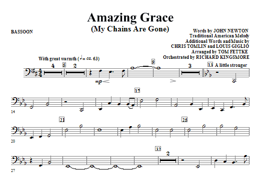 Amazing Grace (My Chains Are Gone) - Bassoon Sheet Music