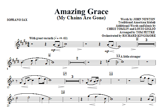 Amazing Grace (My Chains Are Gone) - Soprano Sax Sheet Music