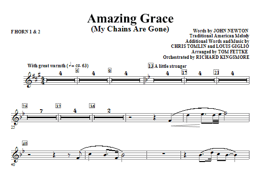 Amazing Grace (My Chains Are Gone) - F Horn 1 & 2 (Choir Instrumental Pak)