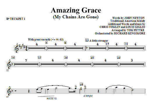 Amazing Grace (My Chains Are Gone) - Bb Trumpet 1 Sheet Music