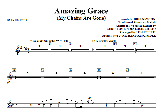 Amazing Grace (My Chains Are Gone) - Bb Trumpet 2 Sheet Music