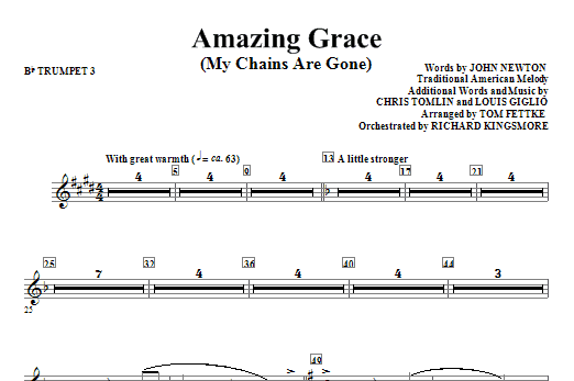 Amazing Grace (My Chains Are Gone) - Bb Trumpet 3 Sheet Music