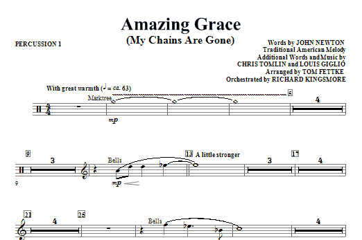 Amazing Grace (My Chains Are Gone) - Percussion 1 Sheet Music
