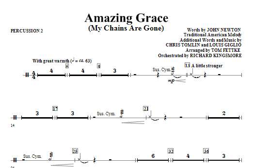 Amazing Grace (My Chains Are Gone) - Percussion 2 Sheet Music