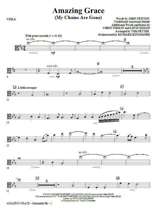 Amazing Grace (My Chains Are Gone) - Viola Sheet Music