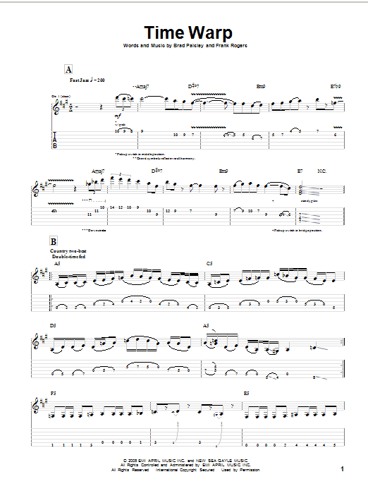 Tablature guitare Time Warp de Brad Paisley - Tablature Guitare