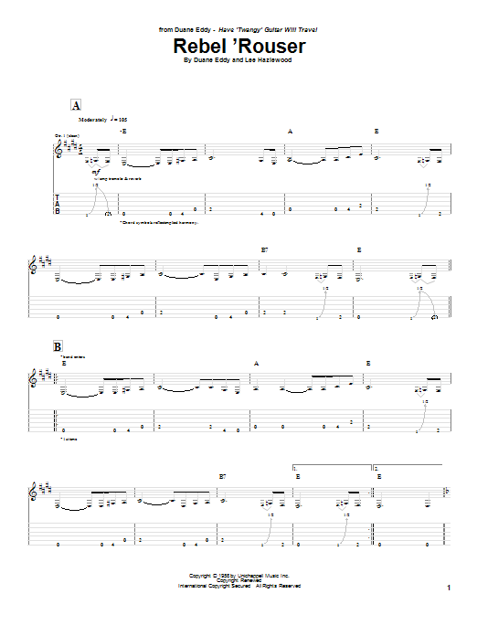 Tablature guitare Rebel 'Rouser de Duane Eddy - Tablature Guitare