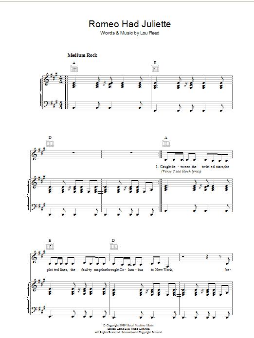 Romeo Had Juliette (Piano, Vocal & Guitar)
