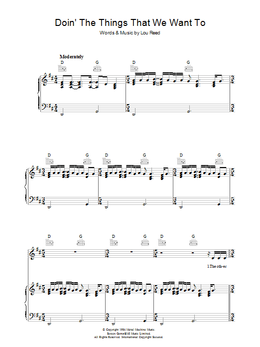 Doin' The Things That We Want To Sheet Music