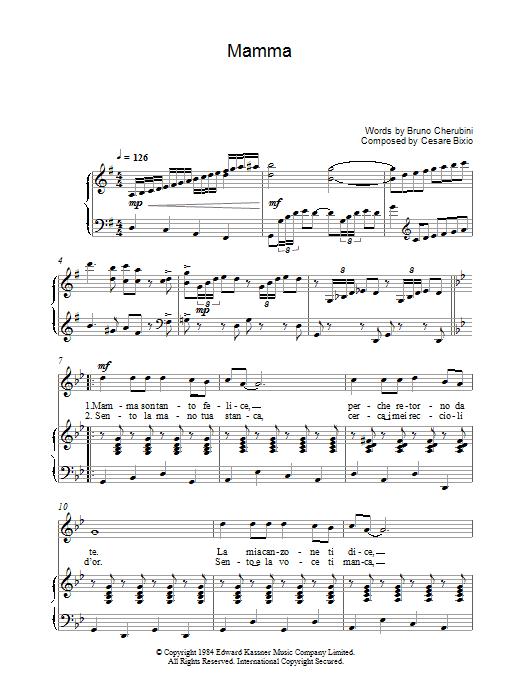 Mamma (Piano, Vocal & Guitar)