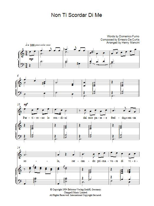 Non Ti Scordar Di Me (Piano, Vocal & Guitar)
