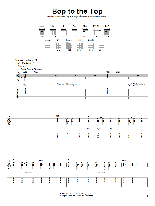 Tablature guitare Bop To The Top de High School Musical - Tablature guitare facile